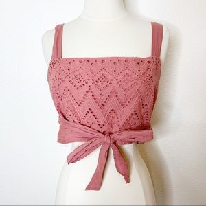 Intimately Free People Mauve Pink Crop Top Eyelet Tie Detail Size Small